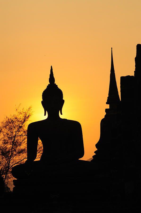 buddha statue silhouetted in sukhothai thailand