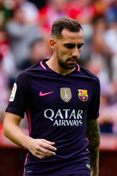 Paco Alcacer of FC Barcelona during the match between Real Sporting de Gijón vs Futbol Club Barcelona at estadio El Molinón on September 24 2016 in...
