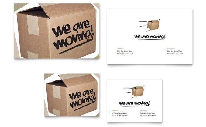Were Moving Note Card Template Design