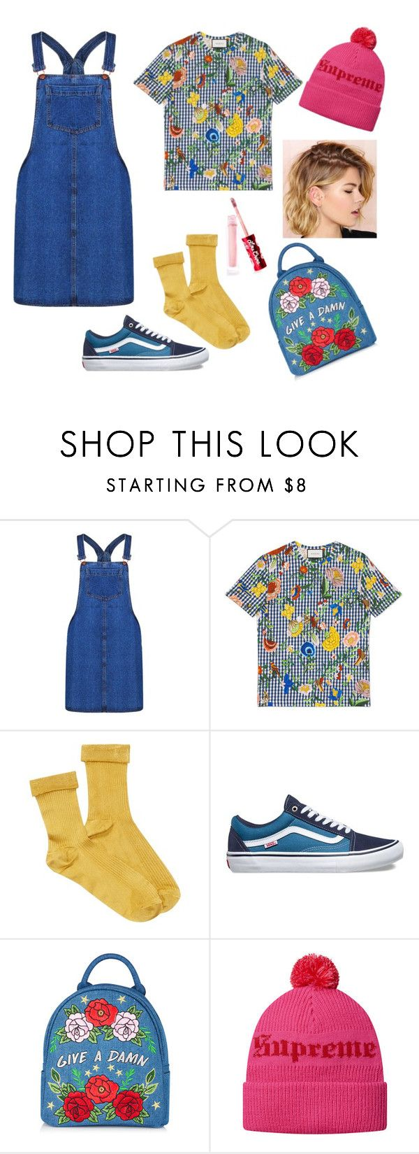 """#untitled8"" by yuna92 on Polyvore featuring Boohoo, Gucci, Free People, Vans and Lime Crime"