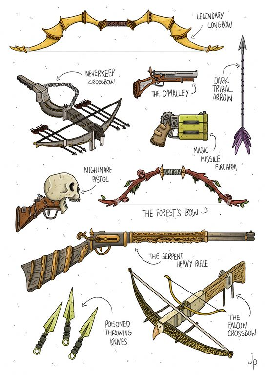 [ART] Ranged Weapon Inspiration For You DMs : DnD #homebrewinggear