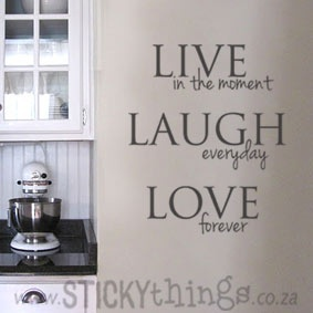 This love wall sticker is an apt quote for Life: Live in the moment, Laugh everyday  Love forever. This wall sticker can used in your lounge, would look amazing in any kitchen or even in the passage, bathroom or bedroom! Our wall decal vinyl is made so that they are fully removable wall stickers and are great interior decor ideas. And: Get 2 owl wall stickers in same colour choice for free!