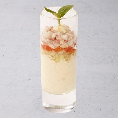 Mousse van paling met komkommer tomaat en gerookte paling