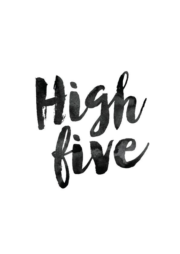 Typography Poster High Five Inspirational by MotivationalThoughts