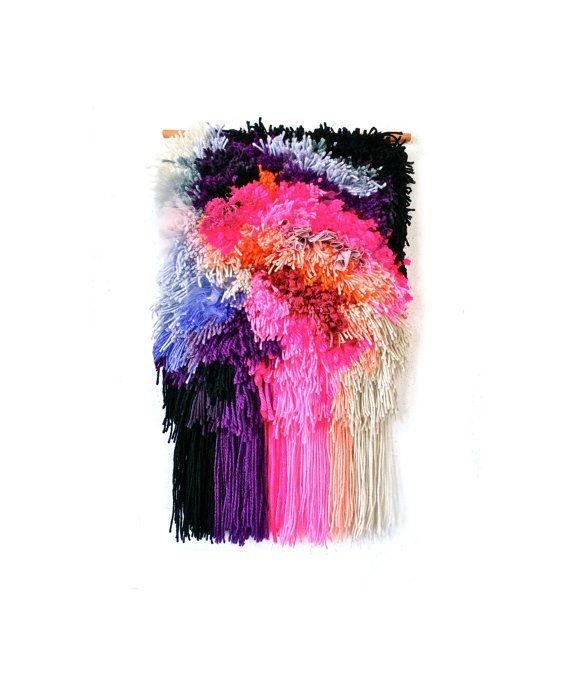 Furry Electric Bubblegum Fields // Handwoven - Tapestry - Wall hanging - Weaving - Fiber Art -Textile - Woven - Home Decor - Jujujust