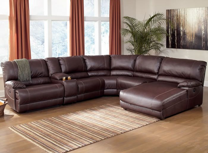 sectional sofas with recliners ferrara leather recliner sectional sofa by abbyson living - Leather Sectional Couch