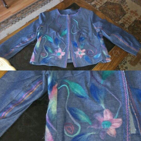 Mezclilla tipo chanel, aplicaciones en vellon y bordados