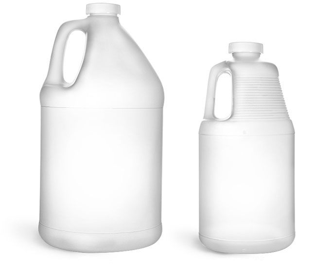The Natural Hdpe Round Handle Jugs With White Ribbed Pe Lined Caps Are Available In Two Sizes 64 Oz And 1 Gallon Be Sure To Test You