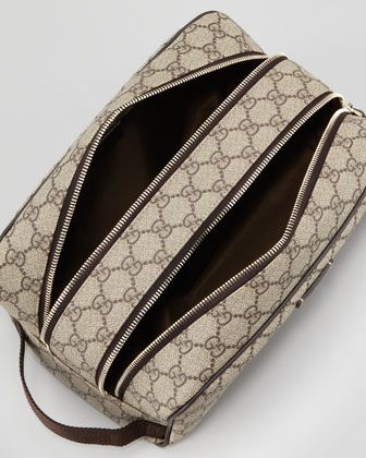 Gucci GG Supreme Toiletry Bag Beige Brown Neiman Marcus Designer Pinte