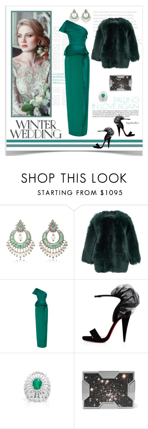 """""""Gorgeous Winter Wedding"""" by angelicallxx ❤ liked on Polyvore featuring Sanjay Kasliwal, Rochas, Monique Lhuillier, Hueb, Lee Savage and winterwedding"""