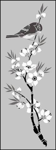 Click to see the actual JA121 - Bird & Blossom Panel stencil design.