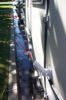 flagpole mounts used to attach makeshift rv awning to the side of a camper