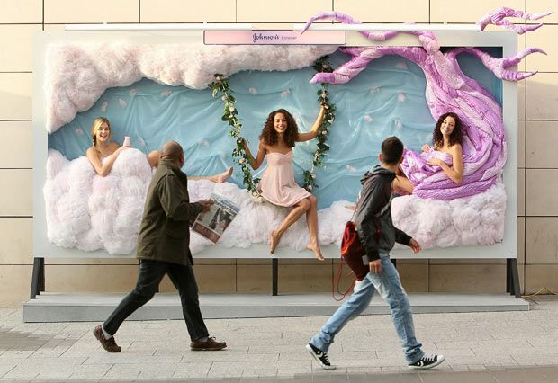 Johnson's world of softness pop up billboard