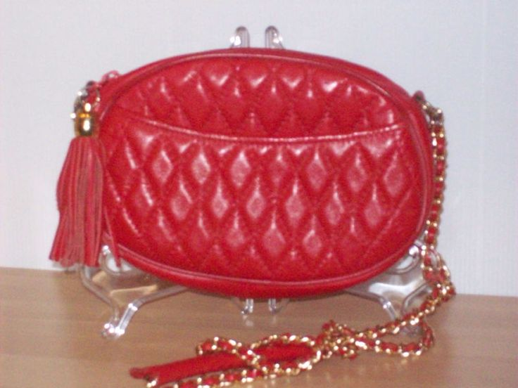 Retro c1980s Red Italian Leather Quilted  style  oval Shoulder Bag