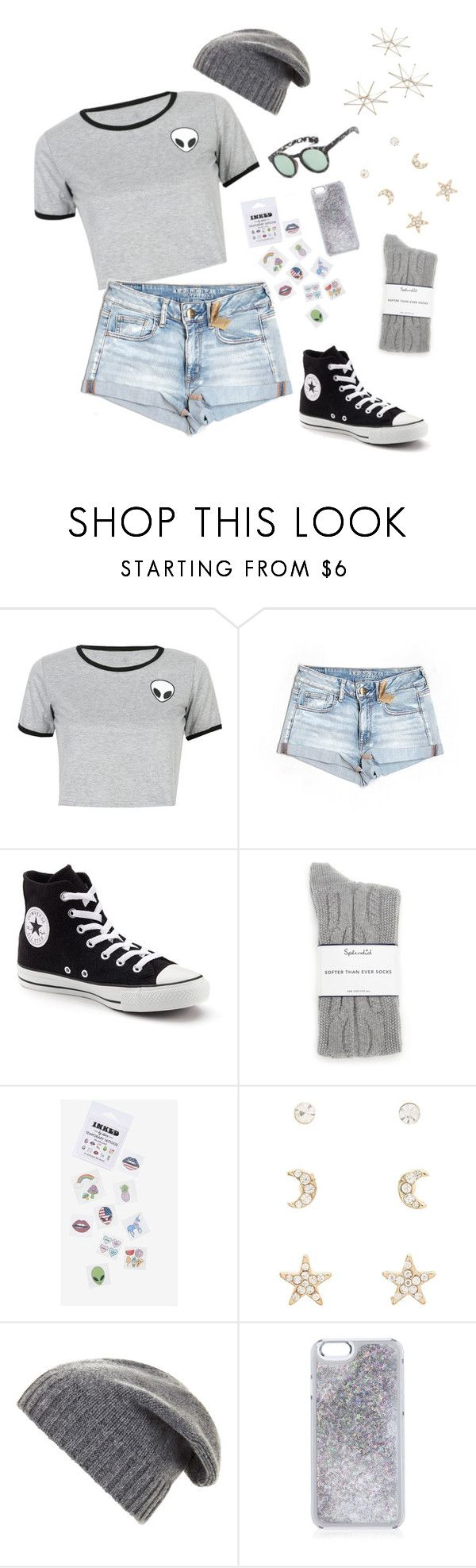 """""""alien @ the movie theater"""" by aathena ❤ liked on Polyvore featuring WithChic, American Eagle Outfitters, Converse, Splendid, Charlotte Russe, BCBGMAXAZRIA and Uttermost"""