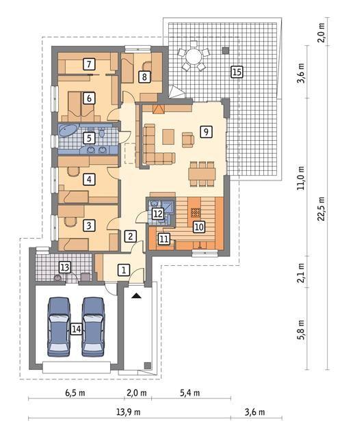 Rzut parteru POW. 175,1 m²