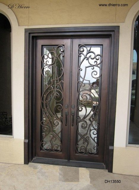 26 best images about wrought iron double doors on for Double front doors with glass