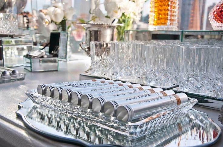 White Glam Wedding. White cocktail wedding at Mon Bijou. Ceremony, dessert buffet, Scotch and Cigar bar, Champagne and Chocolates, Powder room.