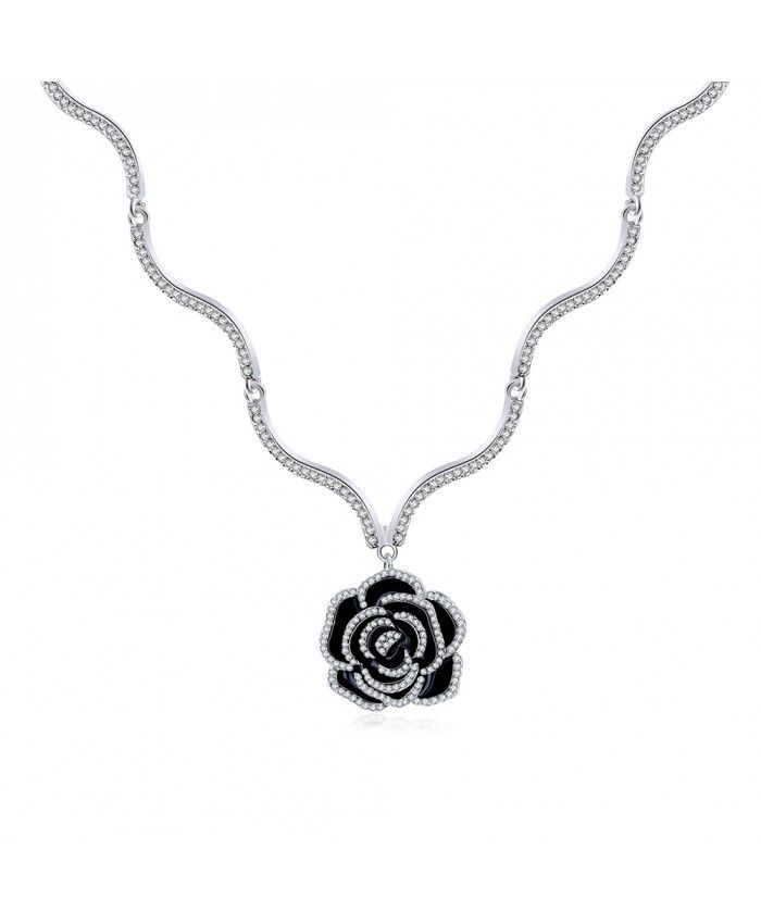 Ouruora Black Varnish Small Rose Flower Pendant Necklace