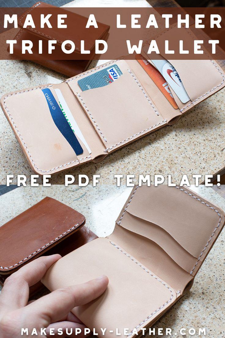 Making A Leather Tri Fold Wallet Free Pdf Template Set Makesupply Diy Leather Wallet Leather Wallet Pattern Diy Leather Wallet Pattern