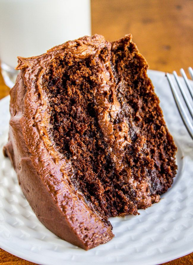 Literally the BEST chocolate cake ever to cross my lips. It is dense and rich and moist and almost brownie-like but still in a cake way.
