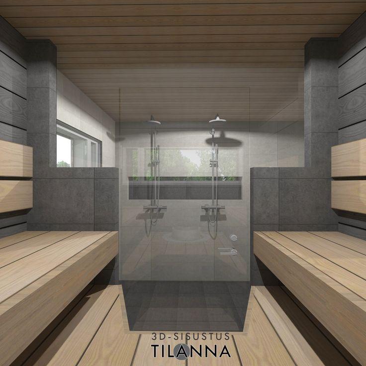Saunan 3D-sisustussuunnittelu hirsitaloon/ moderni sauna, tummaksi käsitellyt hirsiseinät , tervaleppälauteet, tummanharmaa/musta laatta/ Kero-hirsitalot/ 3D-sisustus Tilanna, sisustussuunnittelija