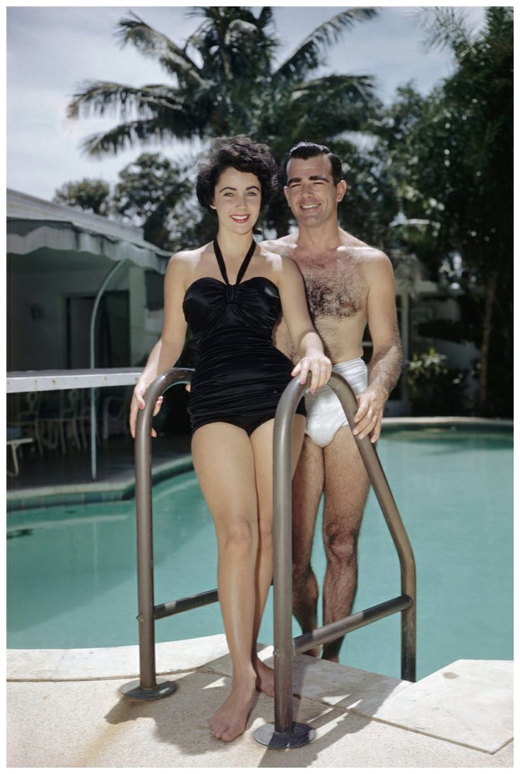 17-year-old Elizabeth Taylor with her first fiance, William D. Pawley Jr., in Miami in 1949. The two were never married. A year later Taylor married Nicky HIlton.