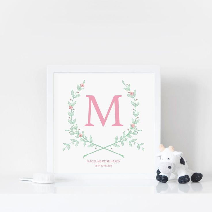 Best 25 personalised baby girl gifts ideas on pinterest personalised baby print monogram wreath custom nursery art nursery print nursery decor negle