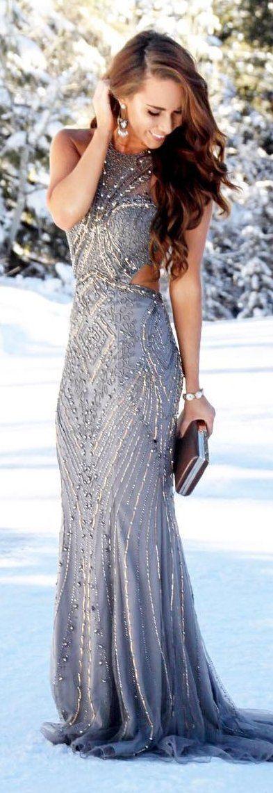 #winter #fashion /  Grey Gown Dress / Metallic Clutch