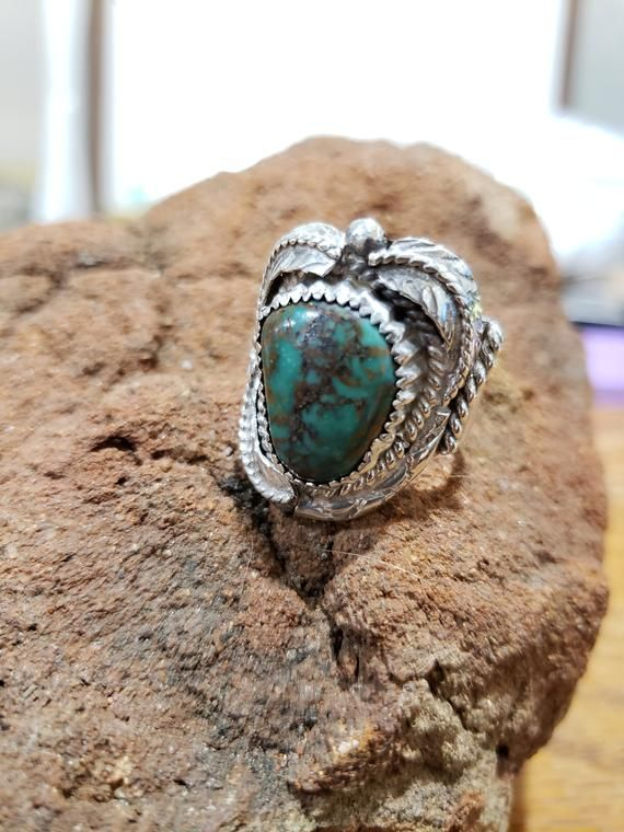 Vintage green brown turquoise sterling silver Navajo Native American pendant