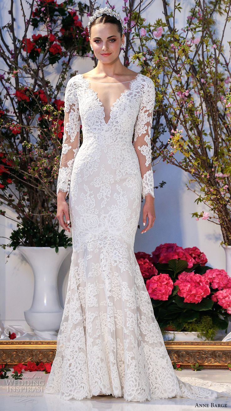 embroidered lace long sleeves deep v neck line fully embellished beautiful lace mermaid wedding dress v back sweep train (014) mv