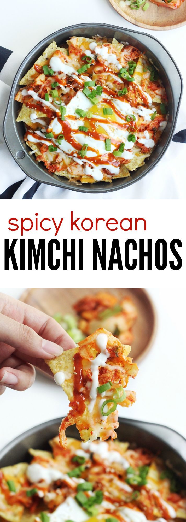 Spicy and Cheesy Korean Kimchi Nachos! The most delicious Asian fusion snack that will definitely satisfy your spicy cravings. Topped with eggs, sour cream, green onions, and some delicious spicy sauce, these nachos are unique and yummy!