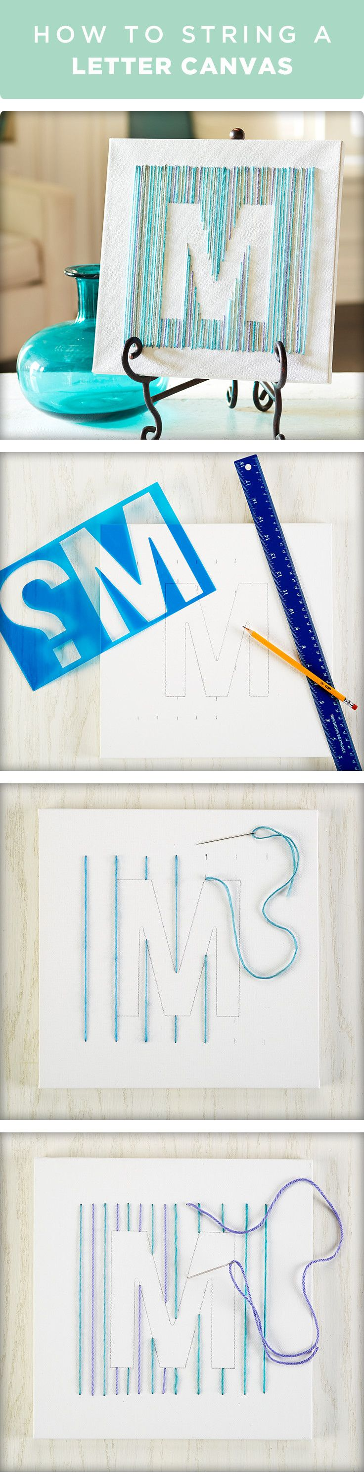 Learn how to string a letter on canvas. Outline the letter using a stencil…