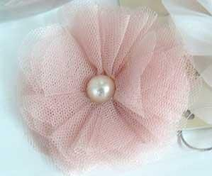 tulle flower diy   Jeannie Mae Wedding Stationery :: Antique Pink Tulle Brooch and Clip