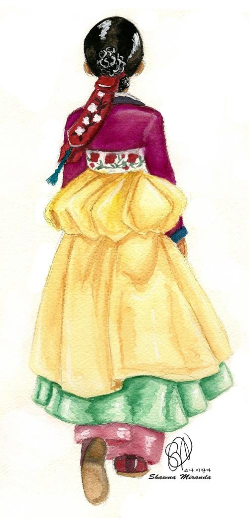 Watercolor painting of novice kisaeng. Based on the Korean drama about Hwang Jini.