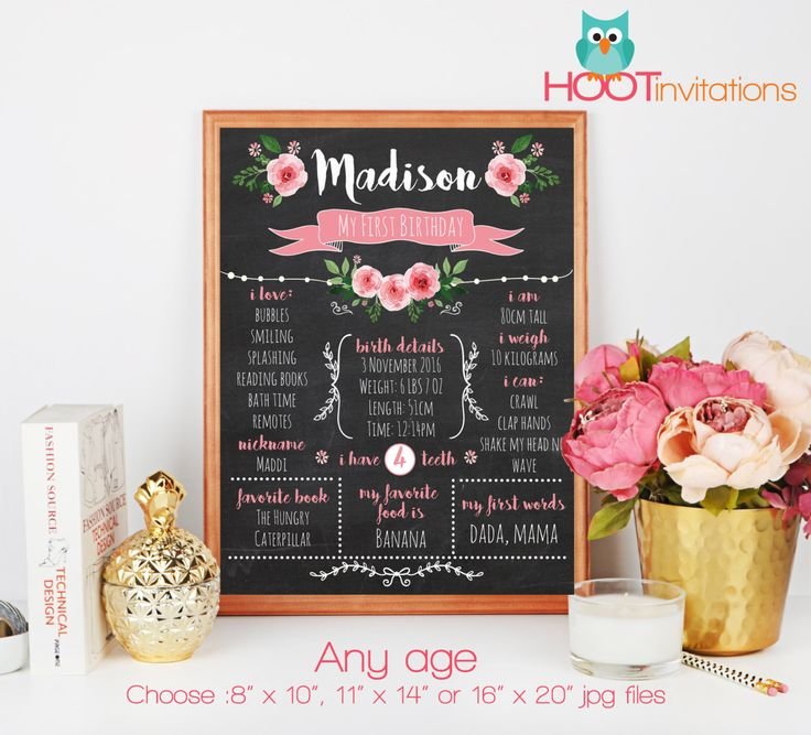 First Birthday Girl Chalkboard Sign, Birthday Sign by HOOTinvitations Pink Roses pretty sign