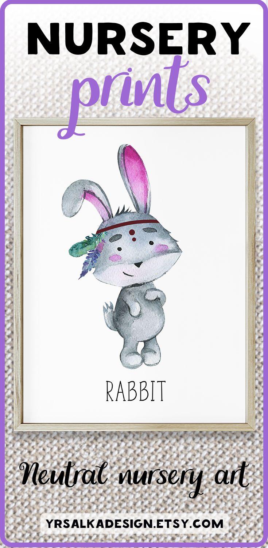 Nursery rabbit wall print. Prints for boy, baby boy room. Kids rabbit print. Bohemian baby art. Indian nursery art, Pastel nursery art. Look at other nursery arts by #yrsalka #instantdownload #Printable #etsyseller #nurseryart #nurserydecor #boy #bunny