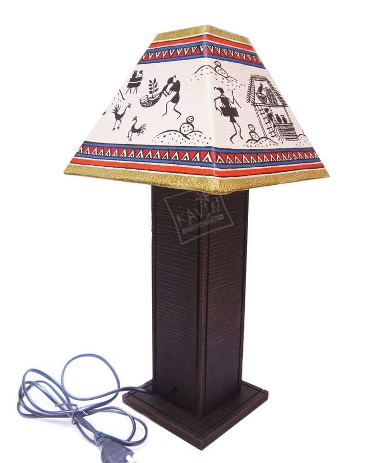 Handmade lampshades decorated with indian tribal traditional art works created by kavin crafts
