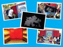 """TEATRO VIAJERO Es una modalidad de """"caja de titeres"""" o """"caja mágica"""" acondicionado para presentar teatro de sombras.   Ideal para ambientes informales como parques, plazas, ferias, kermesses, etc. El espectáculo dura 3min y en cada funcion entran máximo 6 espectadores, lo podemos combinar con un taller."""