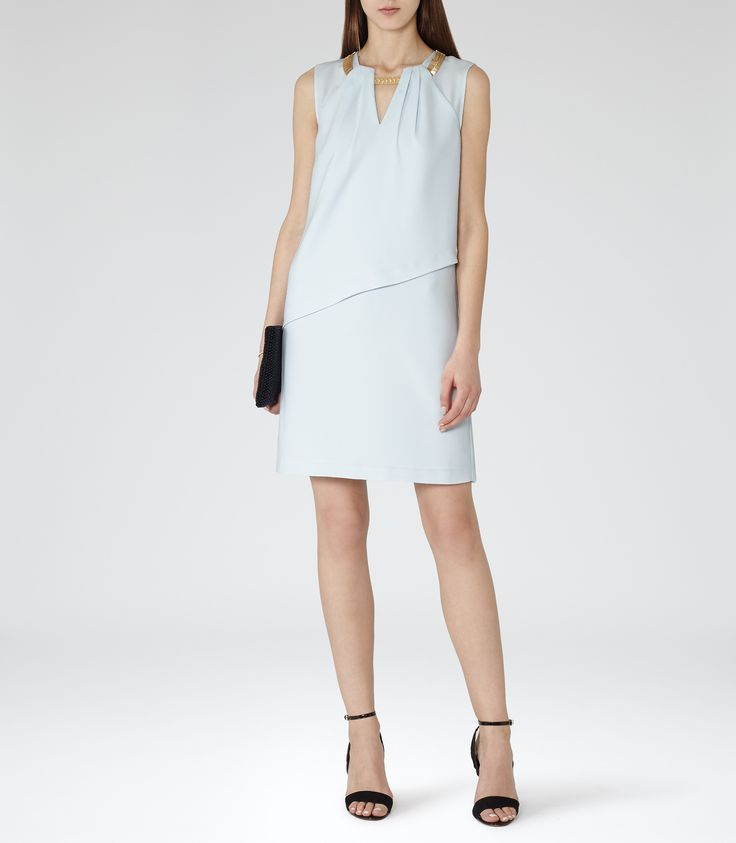 Reiss Hailey Ice Blue Chain-detail Shift Dress | Pink Sky Picks