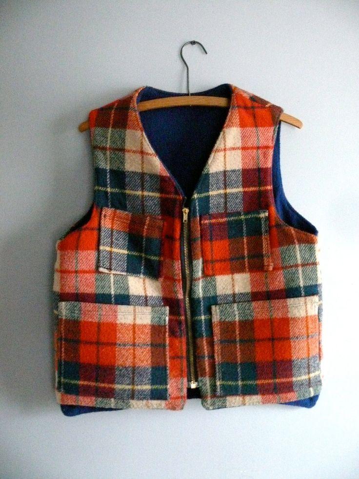 Vintage Wool Vest, Plaid Hunting Vest, 1960s Camping Gear. $68.00, via Etsy.