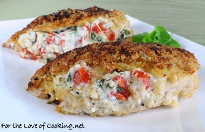 Chicken stuffed with ricotta, tomatoes, basil