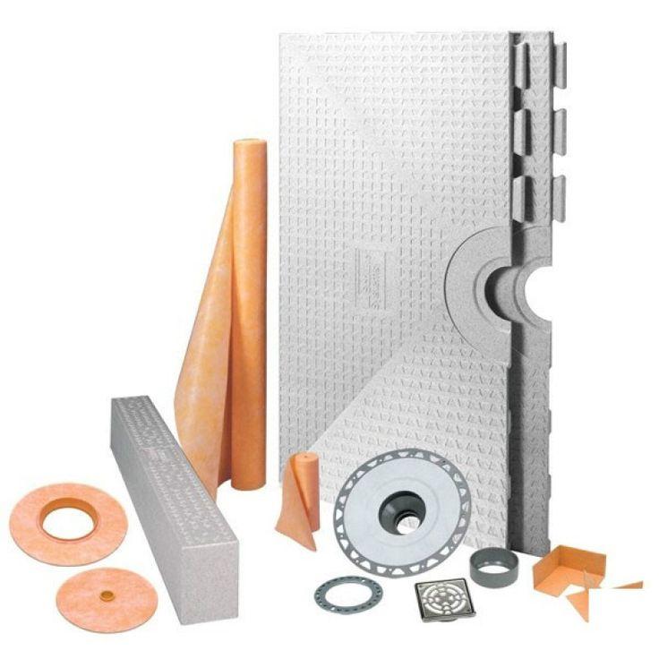 """KERDI-SHOWER-KIT 48"""" X 48"""" Center Drain Tray Stainless Steel Grate - PVC Flange"""