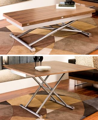 Compact living at its best, this coffee table can be raised and extended into a dining table that can accommodate 4-6 people comfortably. Unopened it can be still height adjusted to suit your needs from a TV dinner to using the laptop.