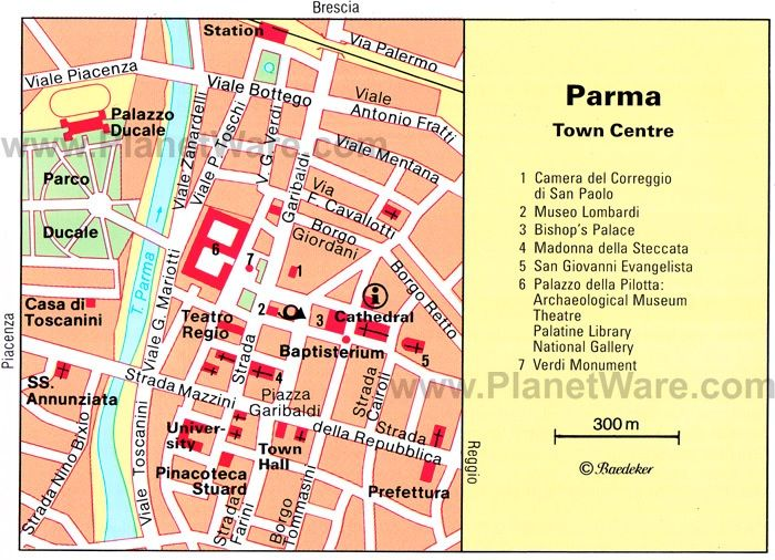 Map of downtown Parma, Italy