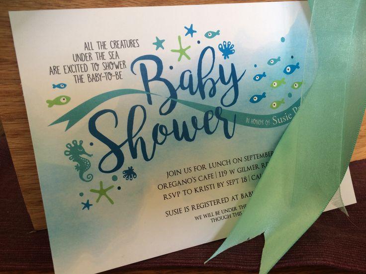 Under the Sea baby shower invitation (art by megandme.com)