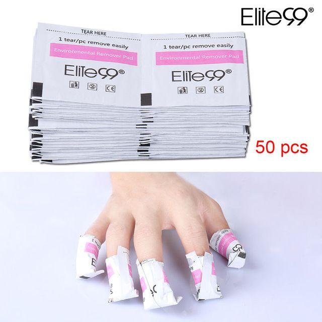 Elite99 50 Pieces Cotton Pads Gel Polish Remover Wraps Gel Nail Removal Gel Polish Nail Polish Remover