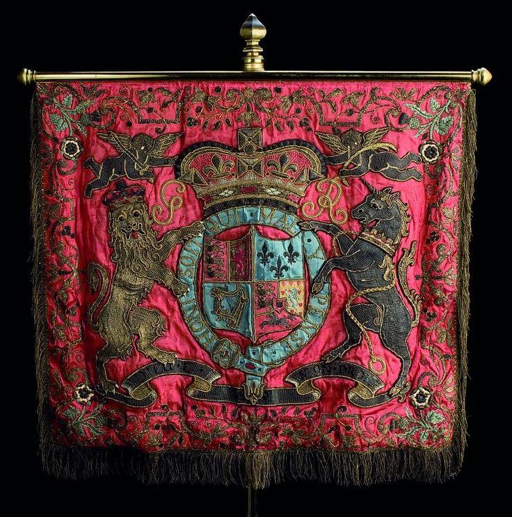 A Georgian Trumpet Banner, c.1800 (hung from a cross-bar as a gonfalon).