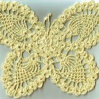 Hier die schriftliche Anltg. für den großen Schmetterling - mit Garn Nr. 8 hat er ca. Maße 24 x 19cm Immer mal aufs Bild schauen - dann kann man sicher gut verfolgen, was man machen muß   In einen Fadenring 11 Stäbchen häkeln wenden  1. 4 Luftm als 1.…