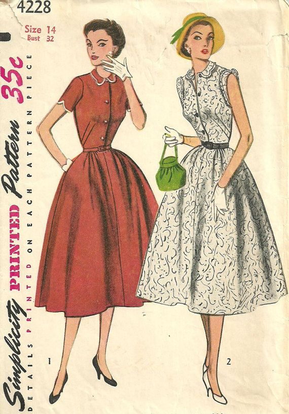 Simplicity 4228 / Vintage 50s Sewing Pattern / Dress / Size 14 Bust 32